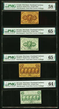 First Issue Denomination Set Identically Courtesy Autographed by Frank White PMG Graded. Fr. 1230 5¢ Choice Abo