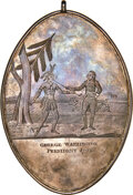 1793 George Washington President Oval Engraved Indian Peace Medal, Silver, by Joseph Richardson, Baker 174 Unlisted, Bel...