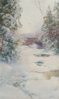 Paintings, Walter Launt Palmer (American, 1854-1932). The Brook in Winter. Watercolor, pencil, and gouache on paper laid on board. ...