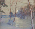 Paintings, Walter Launt Palmer (American, 1854-1932). Winter Moonrise. Watercolor, gouache, and pencil on paper. 20 x 24 inches (50...