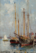 Paintings, Guy Carleton Wiggins (American, 1883-1962). The Waterfront, Gloucester. Oil on canvas laid on board. 11-3/4 x 7-7/8 inch...