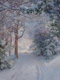 Paintings, Walter Launt Palmer (American, 1854-1932). Snowy Landscape. Oil on canvas. 24-1/4 x 18-1/8 inches (61.6 x 46.0 cm). Sign...