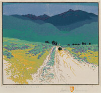 Gustave Baumann (German/American, 1881-1971) Bound For Taos, 1930 Woodblock print in colors on paper 13-1/2 x 16-3/8