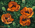 Paintings, Robert Daughters (American, 1929-2013). Four Poppies. Oil on canvas. 11 x 14 inches (27.9 x 35.6 cm). Signed lower left:...