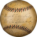 Baseball Collectibles:Balls, Circa 1928 Hall of Famers Multi-Signed Baseball with Ruth, Gehrig, Cobb & More....