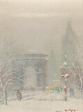 Paintings, Johann Berthelsen (American, 1883-1972). Washington Square Arch, New York. Oil on canvasboard. 10 x 8 inches (25.4 x 20....