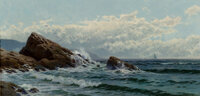Alfred Thompson Bricher (American, 1837-1908) Crashing Waves Oil on canvas 15-1/8 x 32-1/4 inches