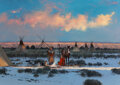 Paintings, Michael Coleman (American, b. 1946). Winter Encampment. Oil on board. 32 x 46 inches (81.3 x 116.8 cm). Signed lower rig...