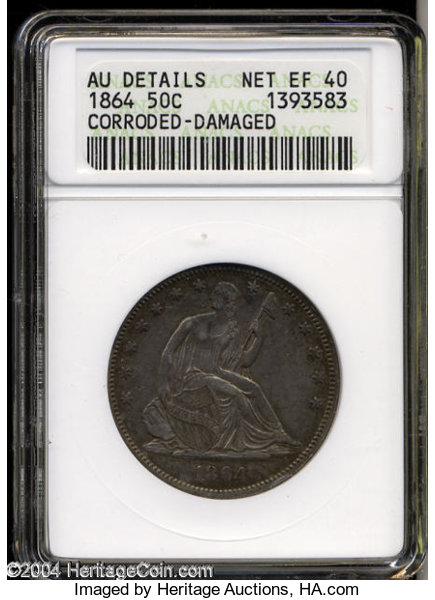 1864 XF40--Corroded, Damaged--ANACS  AU Details  The