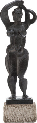 Abbott Pattison (1916-1999) Untitled (Female Nude) Bronze with green patina 22 x 5-1/2 x 4-1/2 in