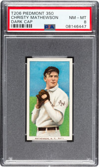 1909-11 T206 Sweet Caporal 350 Christy Mathewson (Dark Cap) PSA NM-MT 8 - Pop Two, One Higher For Brand/Series Combo...