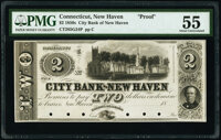 New Haven, CT- City Bank of New Haven $2 18__ G24 Proof PMG About Uncirculated 55, POCs