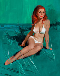 Mayo Olmstead (American, 1925-2004) Redhead in White, 1972 Gouache and tempera on paper 23-1/4 x
