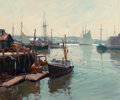 Paintings, Emile Albert Gruppe (American, 1896-1978). Morning, Gloucester Harbor. Oil on canvas. 30-1/2 x 36 inches (77.5 x 91.4 cm...
