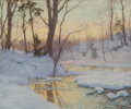 Paintings, Walter Launt Palmer (American, 1854-1932). Stream in Winter. Watercolor, gouache, and pencil on board. 19-1/2 x 23-1/2 i...