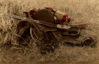 James Elliott Bama (American, b. 1926) 1880's Still Life of Saddle and Rifle, Old Trail Town, Cody, Wyoming, 1971 Oil...
