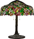 Lighting, Large American Glass and Bronzed Metal Lamp, early 20th century. 28-1/2 x 27 inches (72.4 x 68.6 cm). ... (Total: 2 Items)