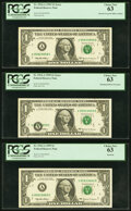 Error Notes:Offsets, Partial Overprint Offset on Back Error Fr. 1924-A $1 1999 Federal Reserve Note. PCGS Choice New 63;. Misaligned Black Over... (Total: 3 notes)