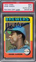 Baseball Cards:Singles (1970-Now), Signed 1975 Topps Hank Aaron #660 PSA EX 5, Auto Authentic....