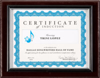 Trini Lopez Induction Certificate to the Dallas Songwriters Hall of Fame