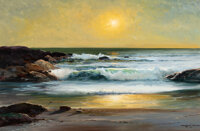 Robert William Wood (American, 1889-1979) Crystal Cove, 1965 Oil on canvas 24-1/4 x 36-1/4 inches