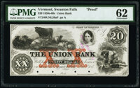 Swanton Falls, VT- Union Bank $20 Jan. 2, 185_ Haxby Unlisted Proof PMG Uncirculated 62, POCs