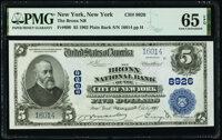 New York, NY - $5 1902 Plain Back Fr. 600 The Bronx National Bank Ch. # 8926 PMG Gem Uncirculated 65 EP
