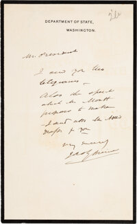 James G. Blaine: Signed Department of State Letter