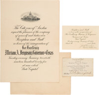Miriam A. Ferguson: Two Event Tickets and an Inauguration Program