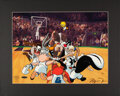 Basketball Collectibles:Photos, 1997 Michael Jordan Signed Space Jam Looney Tunes Limited Edition UDA Cel. ...