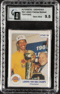 Basketball Cards:Singles (1980-Now), 1986 Star Basketball Lakers Champs Sealed Bag GAI GEM MINT 9.5!...