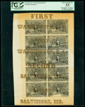 Fractional Currency:Second Issue, Milton 2E10F.1 Full Eight Line Sheet of 10¢ Washington-Baltimore Notes Believed to be Unique. PCGS Choice About New 55. ...
