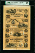Bloomington, IL- Bank of Bloomington $1-$2-$3-$5 18__ G2a-G4a-G6a-G8a Uncut Sheet PMG Choice Extremely Fine 45 EPQ