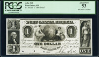 Fort Gaines, GA- John Dill $1 July 1, 1841 Proof PCGS About New 53, POCs