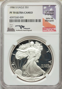 30-Piece 1986 to 2016 Proof Silver Eagle Set, Mercanti Signature PR70 Deep Cameo NGC. The set includes one proof Silver...