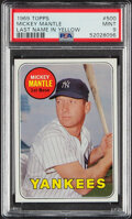 Baseball Cards:Singles (1960-1969), 1969 Topps Mickey Mantle (Yellow) #500 PSA Mint 9--Only Two Superior!...