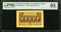 Fr. 1282SP 25¢ First Issue Wide Margin Face PMG Choice Uncirculated 63