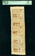 Georgia September 10, 1777 $4/5 Uncut Strip of Five PCGS Apparent Extremely Fine 40