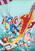 Original Comic Art:Covers, Alex Schomburg Overstreet Comic Book Price Guide #10 Cover Captain America, the Human Torch, and the Sub-Mariner O...