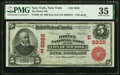 National Bank Notes:New York, New York, NY - $5 1902 Red Seal Fr. 589 The Bronx National Bank Ch. # (E)8926 PMG Choice Very Fine 35.. ...