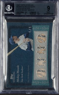 Baseball Cards:Singles (1970-Now), 2008 Topps Sterling Mickey Mantle Sterling Silver Moments Quad Relic #4SM-2 BGS Mint 9 - Serial Numbered 1/1. ...