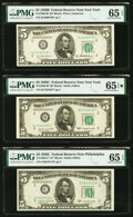 Small Size:Federal Reserve Notes, Fr. 1963-B* $5 1950B Federal Reserve Note. PMG Gem Uncirculated 65 EPQ;. Fr. 1964-B* $5 1950C Federal Reserve Note. PMG Ge... (Total: 3 notes)