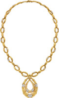 Estate Jewelry:Necklaces, Diamond, Gold Pendant-Brooch-Necklace. ... (Total: 2 Items)