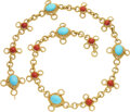 Estate Jewelry:Other, Turquoise, Coral, Gold Belt. ...