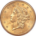 1856-S $20 Full Serif, Left S, S.S. Central America #2 (with Pinch) MS63+ PCGS....(PCGS# 670696)