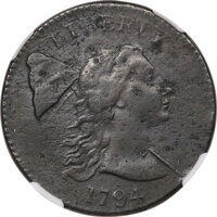 1794 1C Head of 1793, S-19b, B-3b, R.4 -- Corrosion, Smoothed -- NGC Details. XF. ...(PCGS# 35519)