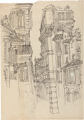 Works on Paper, Shel Silverstein (American, 1932-1999). Cityscapes, Playboy interior illustration studies (six works). Ink on paper. 19-... (Total: 6 Items)
