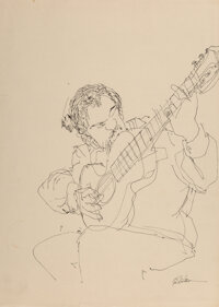 Shel Silverstein (American, 1932-1999) Self Portrait with Guitar (double-sided)