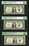 Small Size:Silver Certificates, Fr. 1612 $1 1935C Silver Certificates. P-E, R-E, and U-E Blocks. PMG Graded Gem Uncirculated 66 EPQ (2); Gem Uncirculated 65 ...