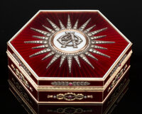 An 18K Vari-Color Gold, Guilloché Enamel, Diamond, and Cabochon-Mounted Box in the Manner of Fabergé, late...